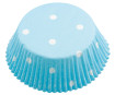 Baking cup 50x25mm Dots white on turquoise 60pcs blister