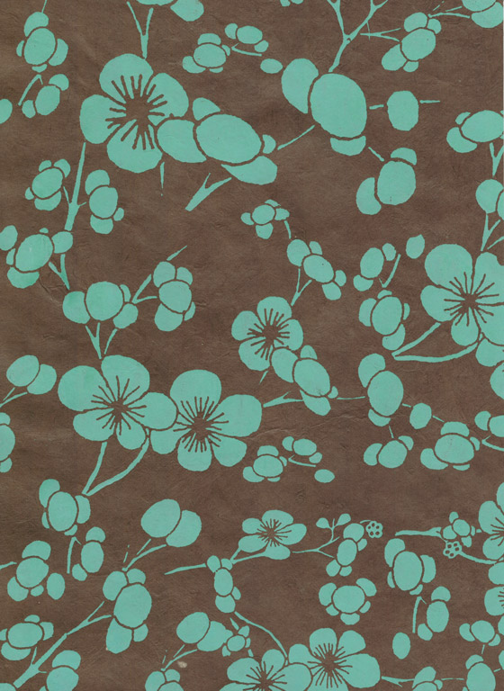 Lokta Paper A4 Cherry Blossom Sea Green on Dark Brown
