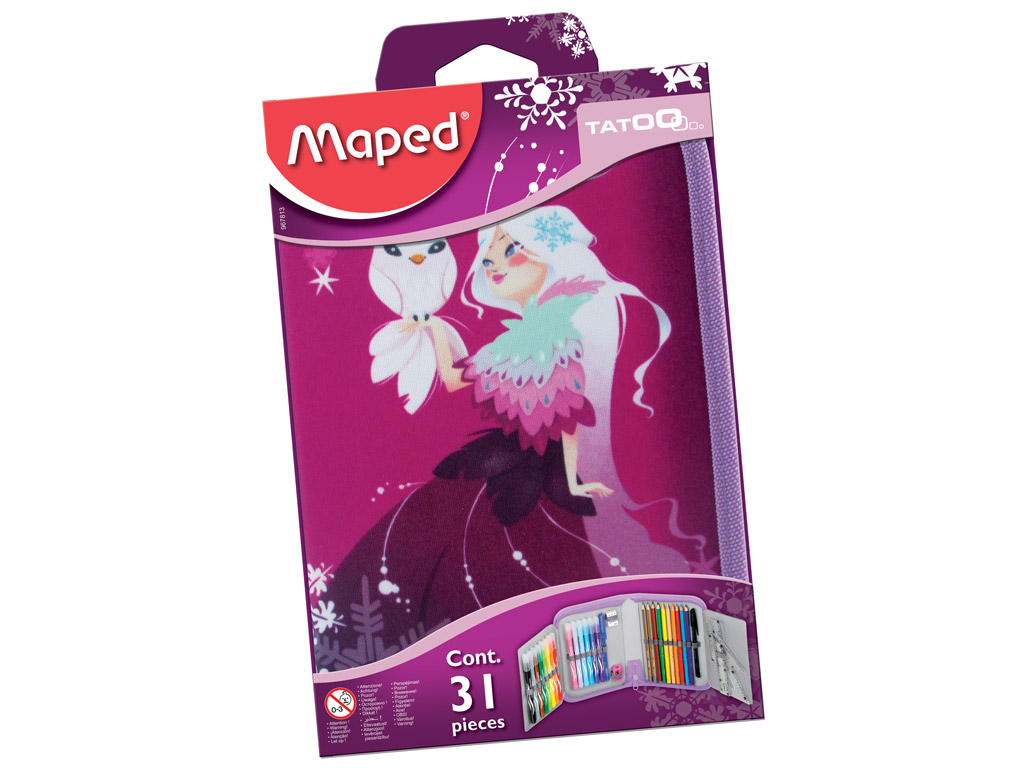 Pencil case Maped 1 floor filled Tattoo Princess blister