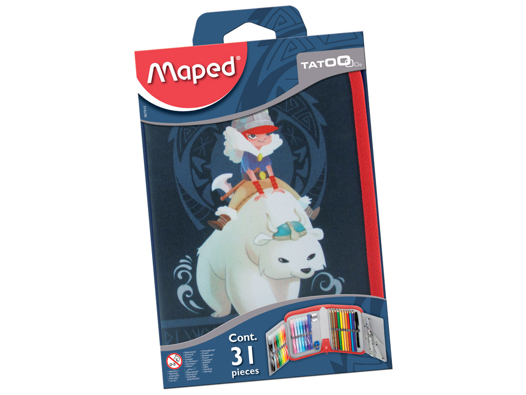 Pencil case Maped 1 floor filled Tattoo Viking blister