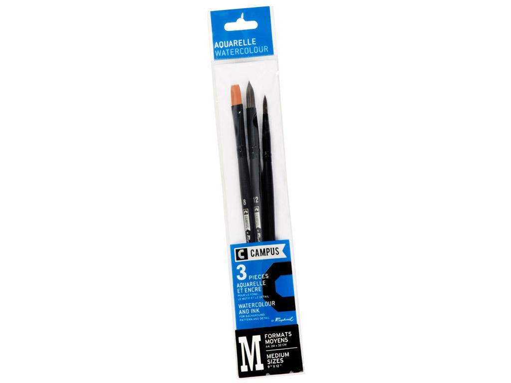 Brush set Campus watercolour synthetic M 3pcs