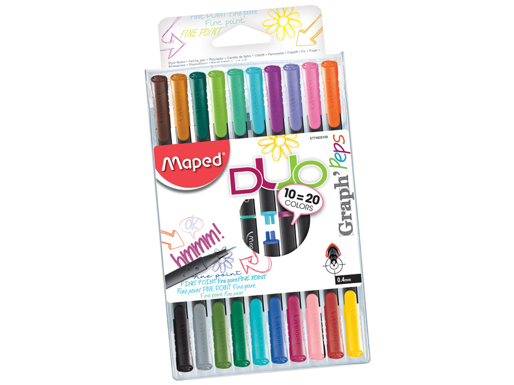 Tintpliiats fineliner Maped GraphPeps 0.4 Duo 10=20tk blistril