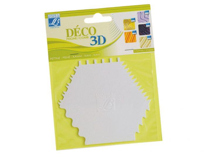 Acrylic Cream Deco 3D multi-shape comb - 1/2