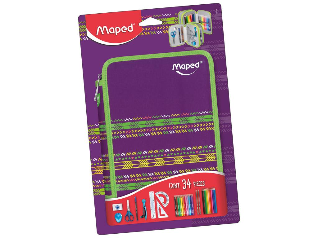 Pencil case Maped 2 floors filled Jungle purple blister