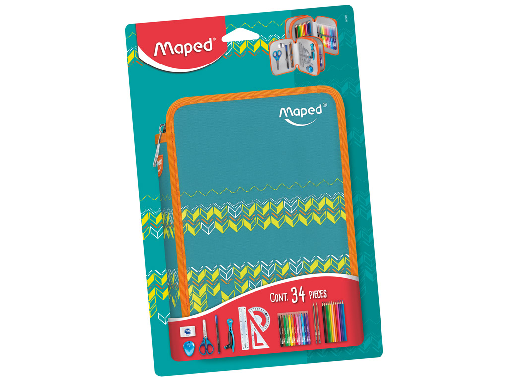 Pencil case Maped 2 floors filled Jungle turquoise blister