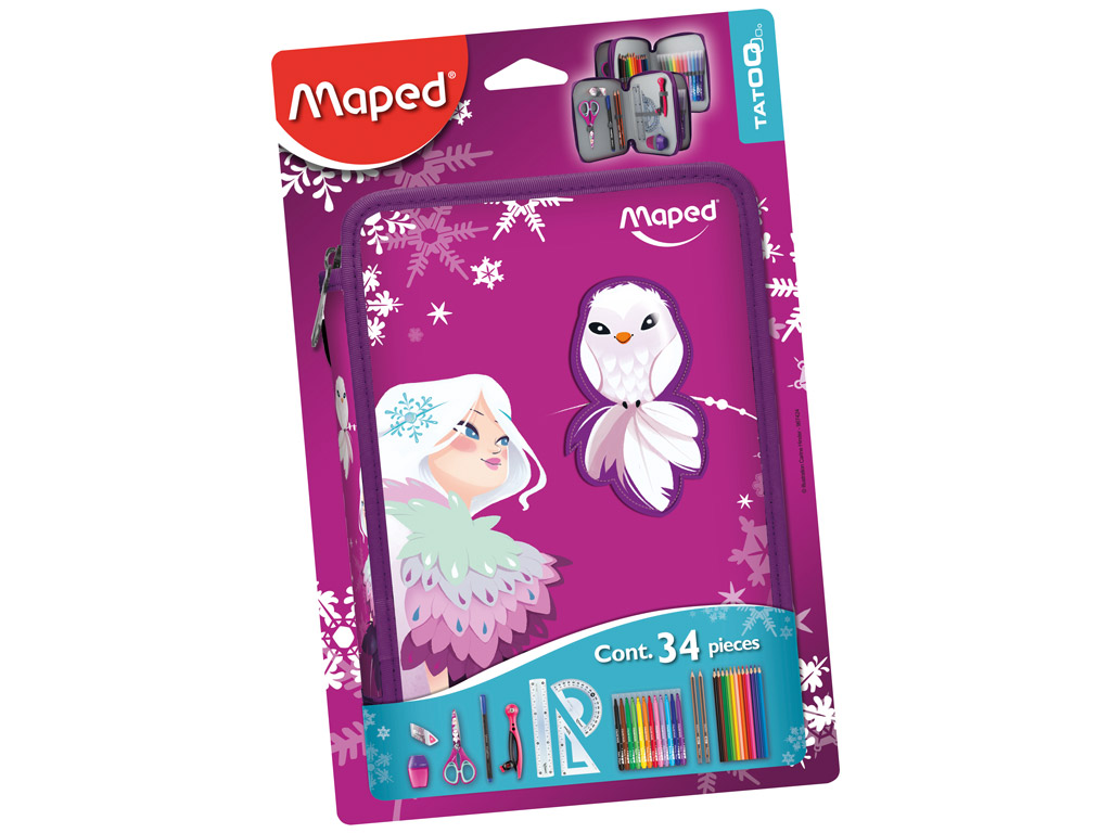 Pencil case Maped 2 floors filled Tattoo Princess blister