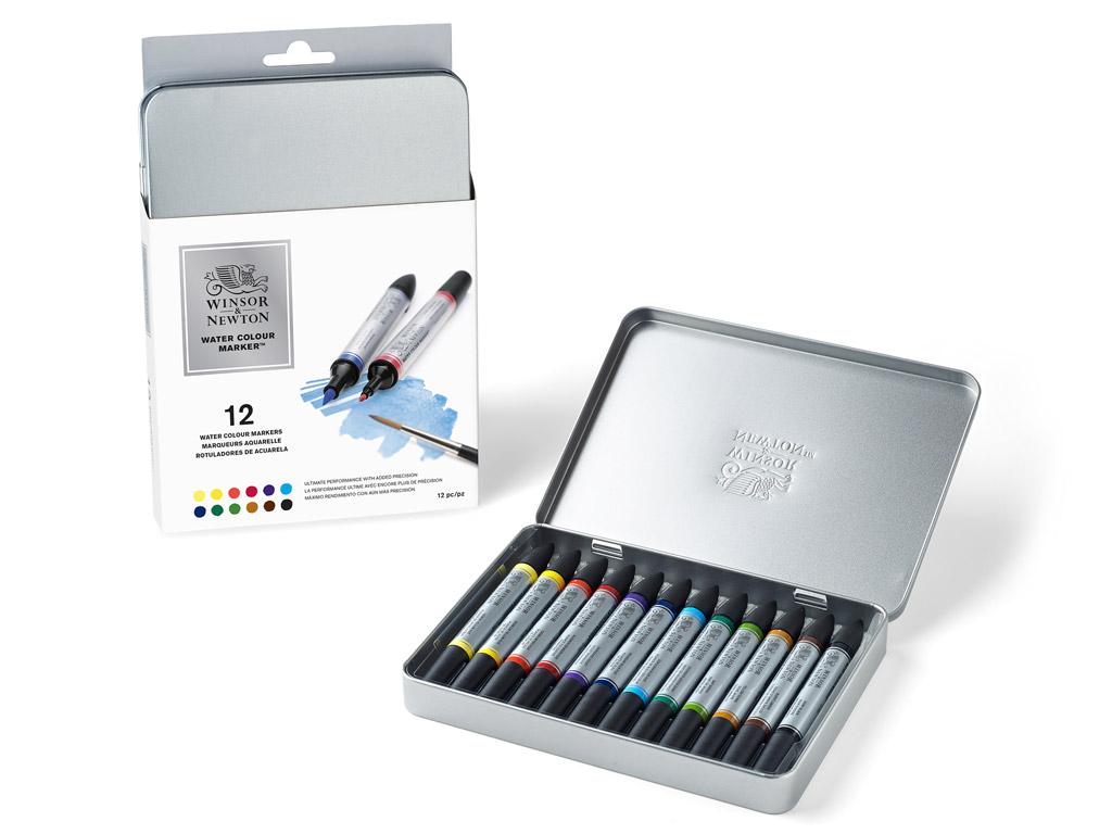 Watercolour marker set W&N 12pcs metal box