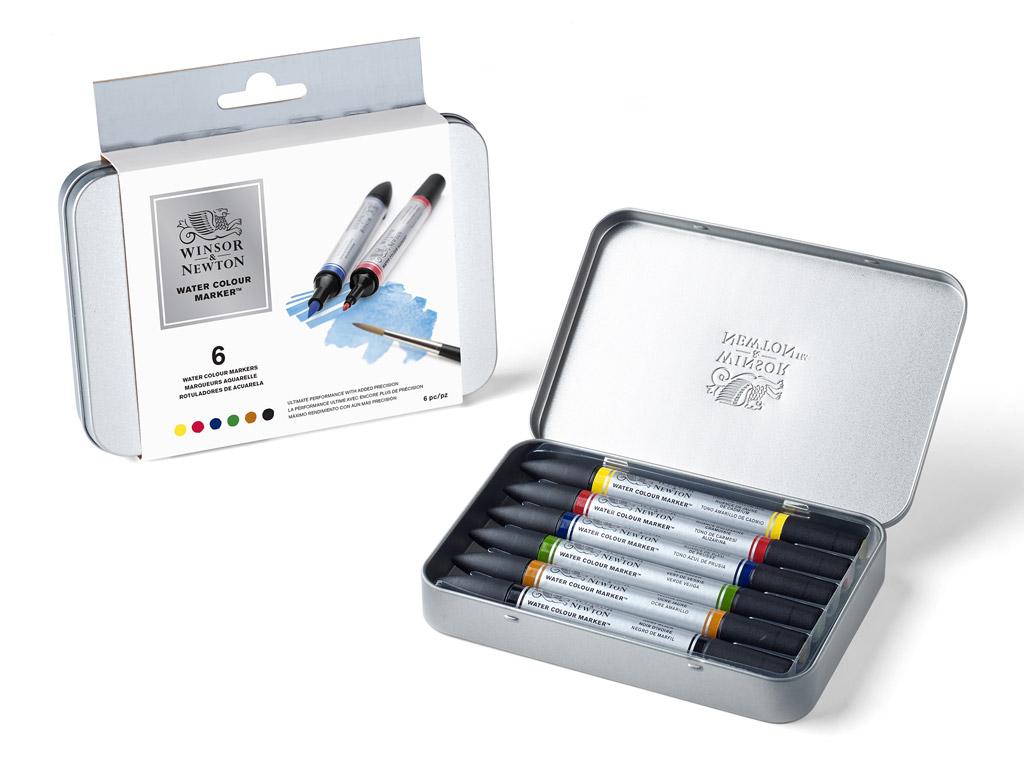 Watercolour marker set W&N 6pcs metal box