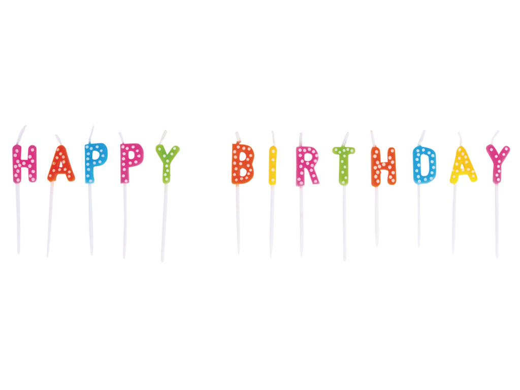 Candle on stick Rayher Happy Birthday 1.5x7.7cm 13 letters coloured