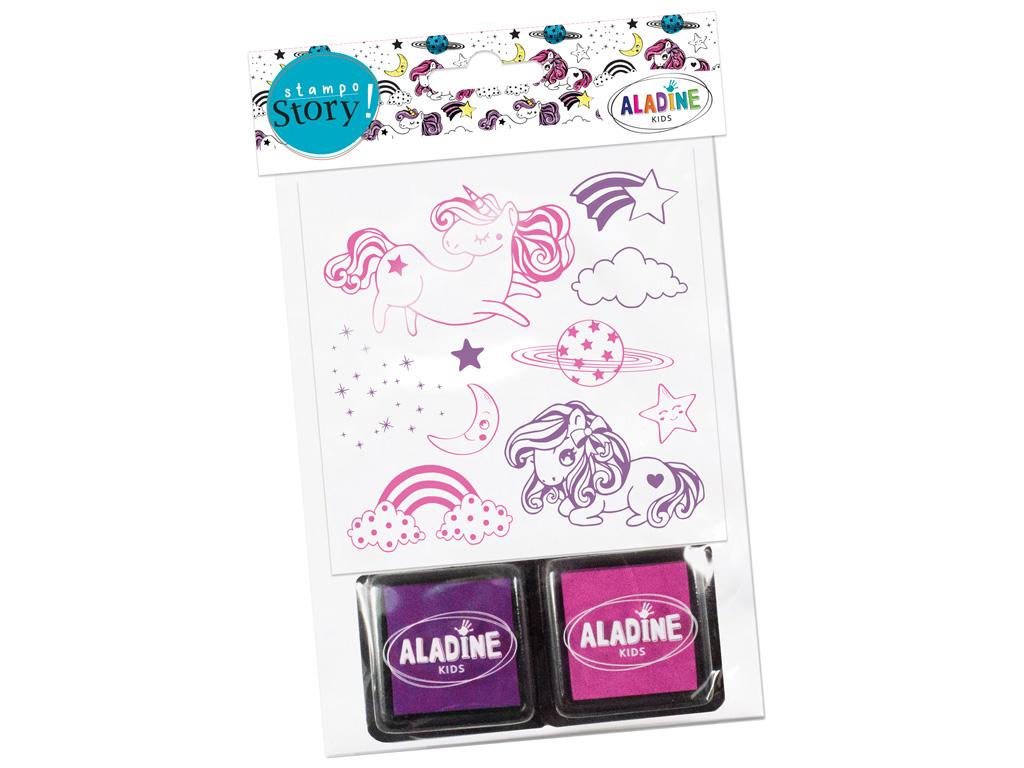 Stamp Aladine Stampo Story 10pcs Licornes + 2 ink pads blister