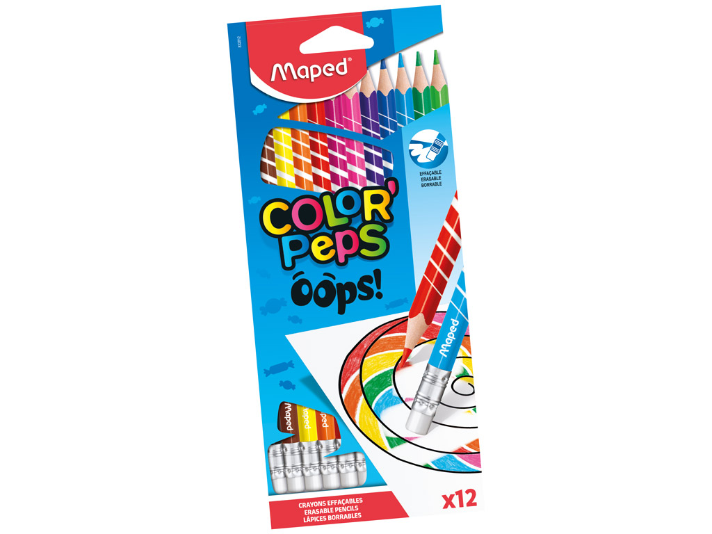 Värvipliiats puiduvaba ColorPeps Oops! 12tk kummiga