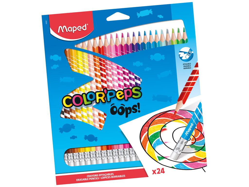 Värvipliiats ColorPeps Oops! 24tk kummiga