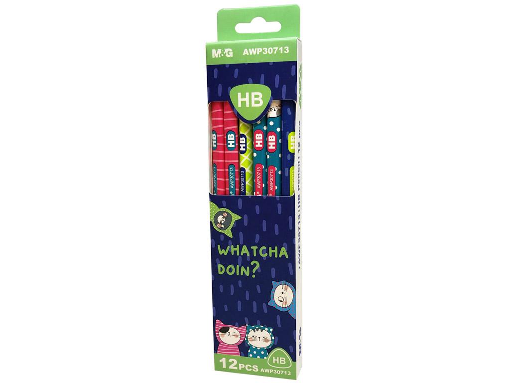 Harilik pliiats M&G So Many Cats kolmekandiline HB teritamata 12tk