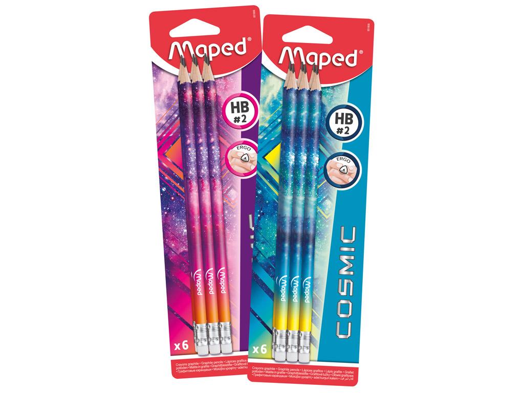 Harilik pliiats Maped Cosmic Teens HB kummiga 6tk blistril